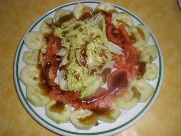 Ensalada con salsa de soja