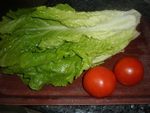 Hojas de lechuga romana y tomates