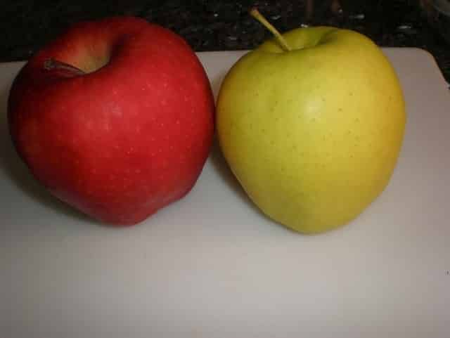 Manzanas roja y amarilla
