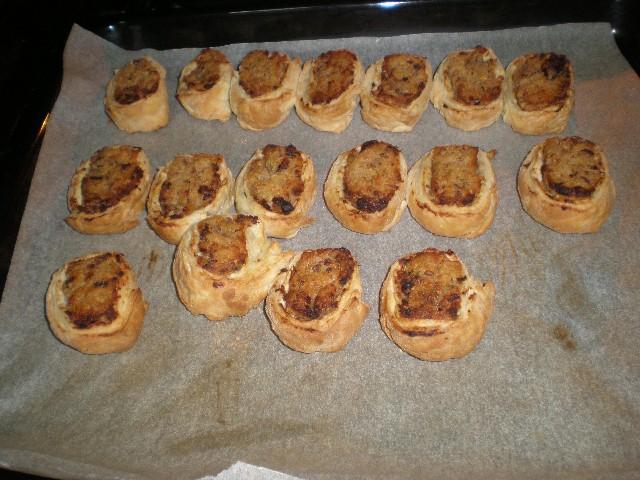 Caracolas rellenas de batata en el horno