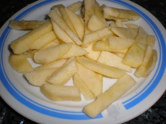 Manzana en tiras