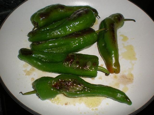 Freír pimientos verdes