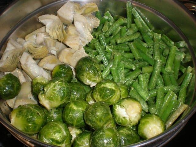 Tres verduras en la cazuela
