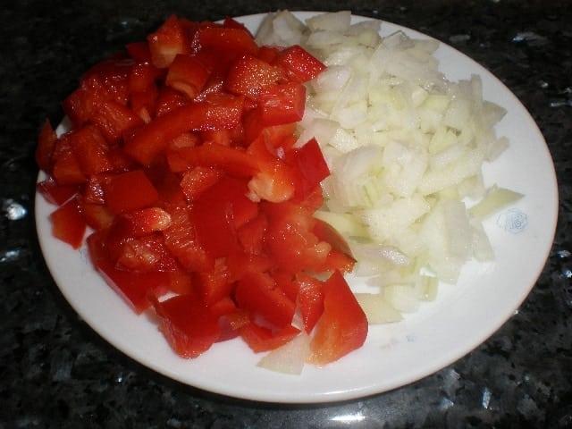 Pimiento y cebolla