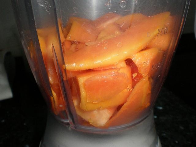 Papaya troceada