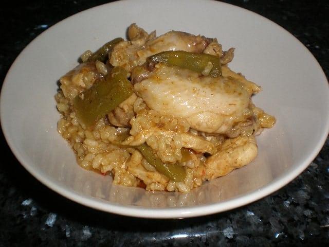 Arroz integral con pollo en wok 2