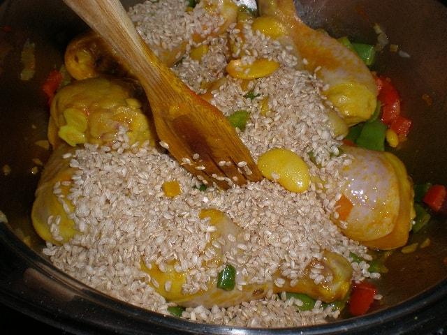 Mezclar arroz - Arroz integral con muslitos de pollo