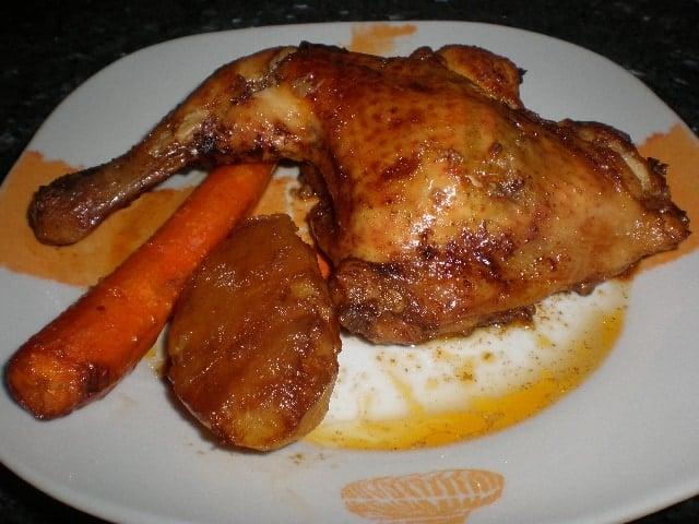 Pollo enfangado al horno