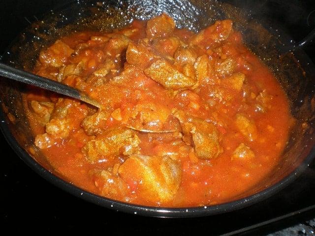Cerdo en salsa de verduritas