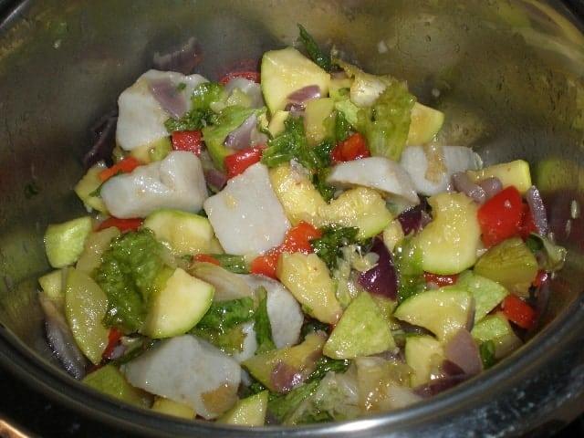 Saltear batata - Puré de calabacín con batata