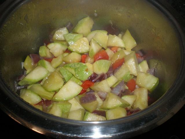 Saltear verdrua - Puré de calabacín con batata