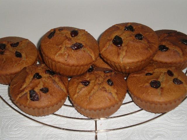 Muffins de plátano y arándanos