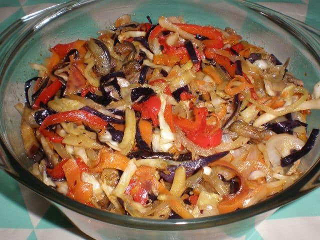 Salteado ocho verduras 1 - Pizza ocho verduras y chorizo