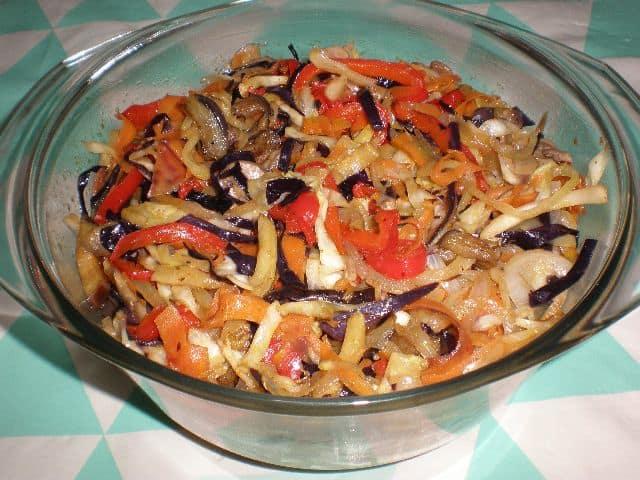 Salteado ocho verduras 2 - Pizza ocho verduras y chorizo