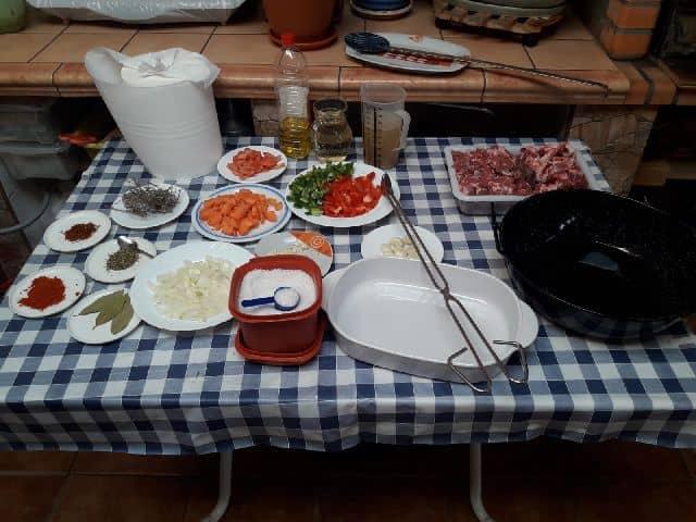 Ingredientes para caldereta de cordero