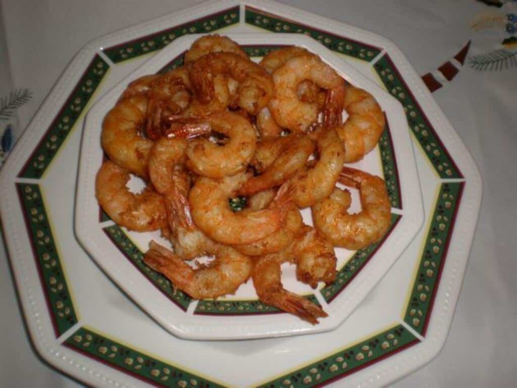 Gambas fritas con tempura