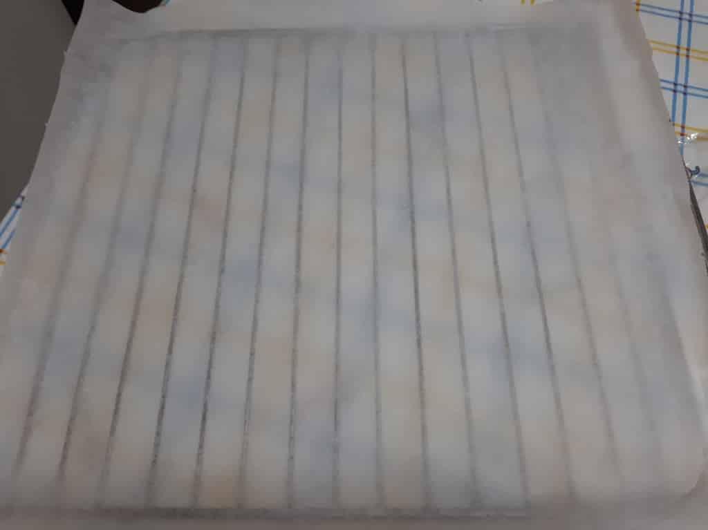 Rejilla con papel de hornear